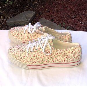 Arizona Jean Co Cream Yellow Floral Sneakers Wm 11